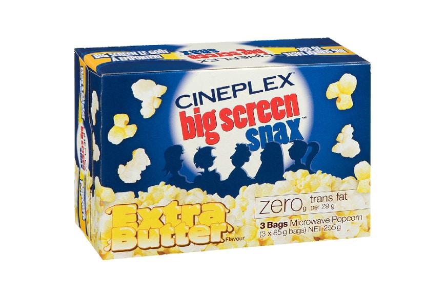 Cineplex Big Screen Snax Extra Butter popcorn